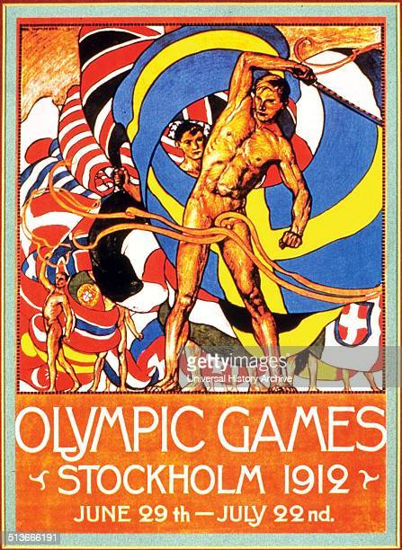 Colour poster advertising the Stockholm Olympic Games Dated 1912