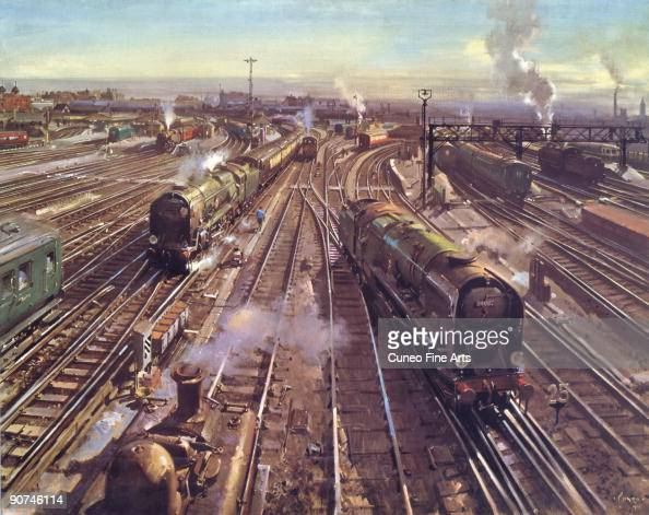 Colour print from a painting by Terence Cuneo looking down towards Clapham Junction in London