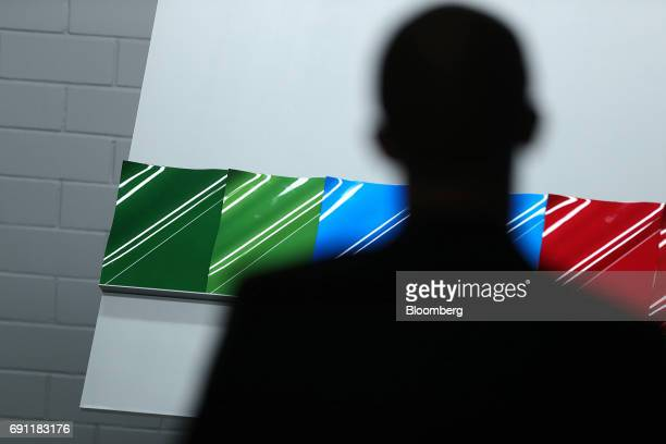 Colour samples sit on metal plates in the design department inside PPG Industries Inc's automotive coating's technical center in Ingersheim Germany...