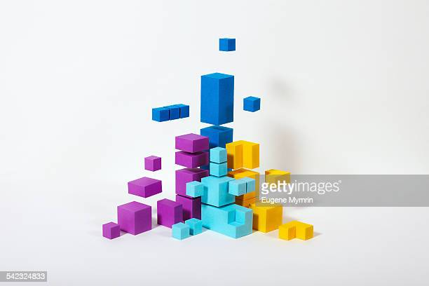 Colour shapes on white background