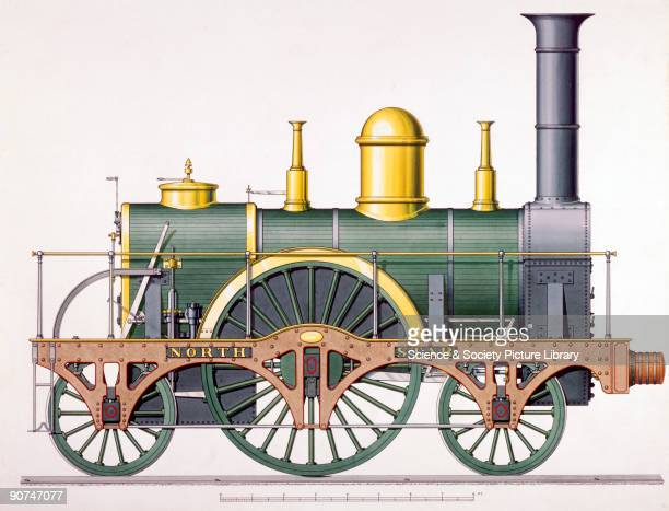 Coloured and shaded side elevation drawing This locomotive was designed by Robert Stephenson Co for the Great Western Railway The drawing was made...
