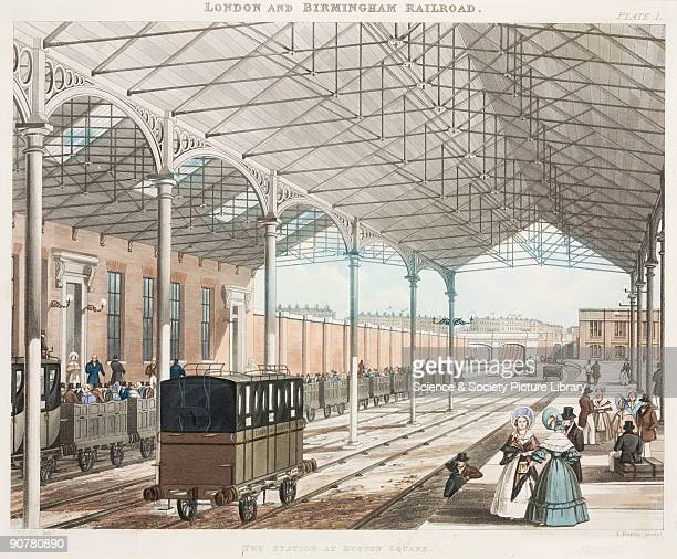 Coloured aquatint engraved by J Harris after a drawing by Thomas Talbot Bury showing a view of the interior of the station at Euston Square London on...