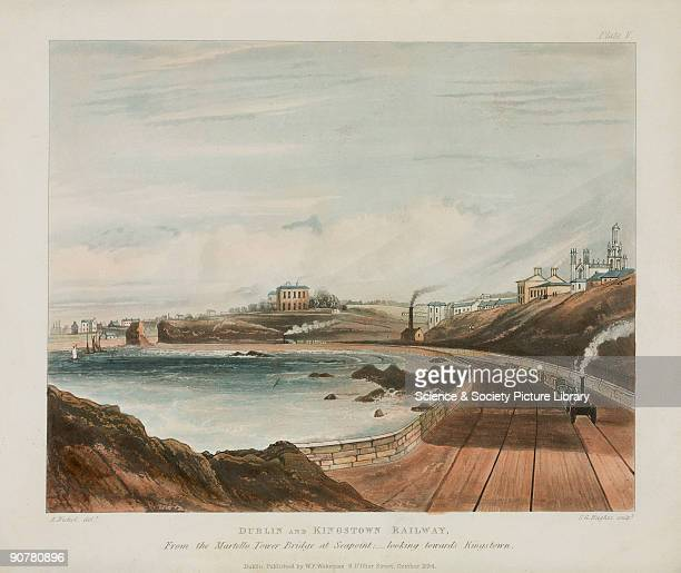 Coloured aquatint showing a view of the Dublin Kingstown Railway The Dublin Kingstown Railway was the first railway to be built in Ireland and opened...
