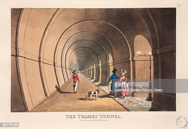 Coloured aquatint showing people strolling through the Thames Tunnel Sir Marc Isambard Brunel engineer and inventor was at the forefront of civil...