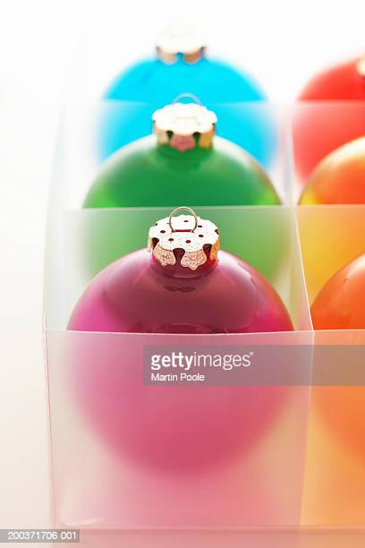 Coloured baubles in box, close up
