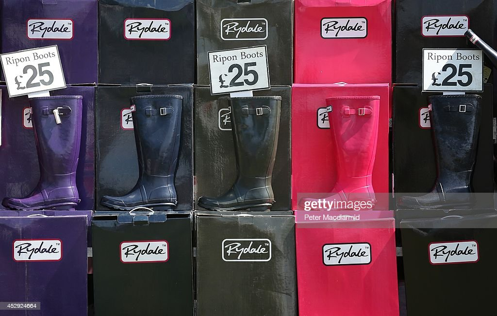 Coloured boots are displayed for sale at the Royal International Horse Show on July 30, 2014 in Hickstead, England. The Longines Royal International Horse Show sees the top eight countries in the world compete for the biggest inter-nation showjumping prize.