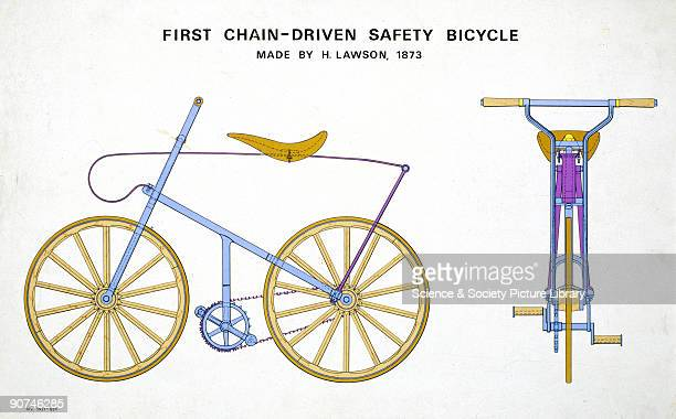 Coloured drawing made from information supplied by H J Lawson This was the first rearchaindriven safety bicycle manufactured by H J Lawson in...