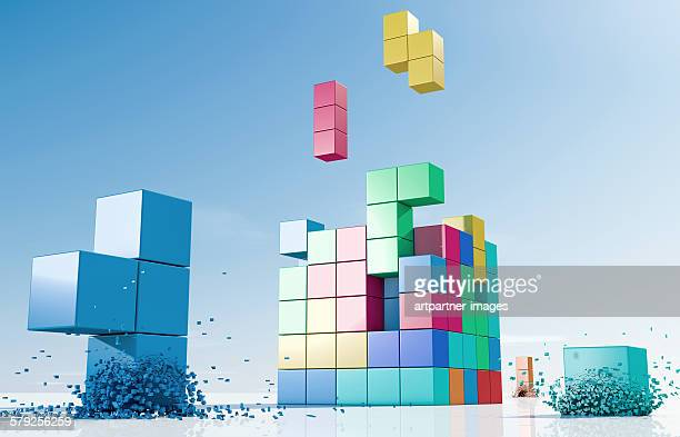 Coloured elements forming a cube