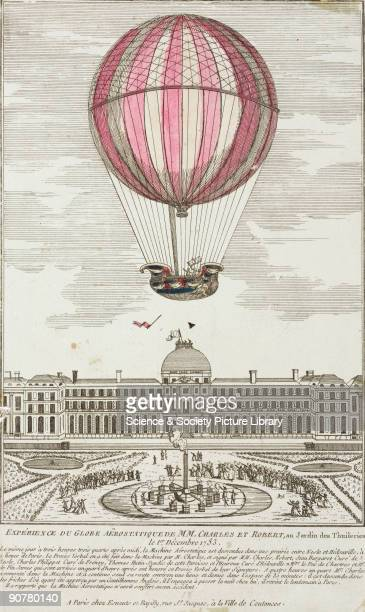 Coloured engraving by Esnauts and Rapilly showing Charles and Noel Robert�s first manned ascent of a hydrogen balloon at the Tuileries Gardens It was...