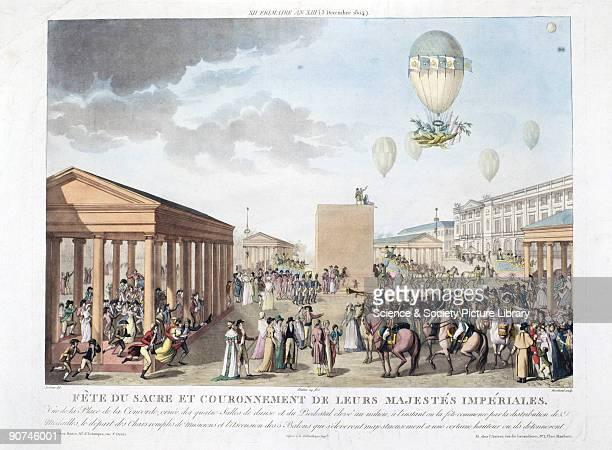 Coloured engraving by Marchand after a drawing by Le Coeur entitled 'Fete du sacre et couronnement de leurs Majestes Imperiales� illustrating the...
