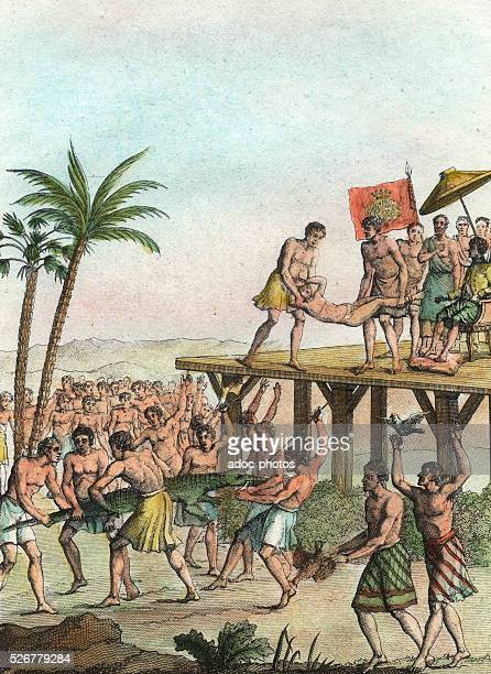 Annual celebrations in Guinea Coloured engraving