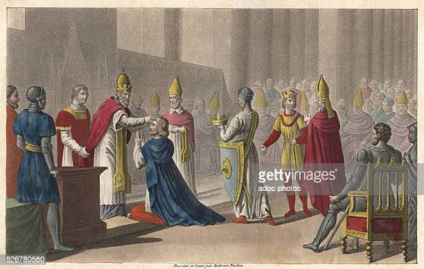 Reign of Louis II Louis II of France is sacred for the second time at the concile of Troyes by the pope John VIII Gravure en couleur de 1825