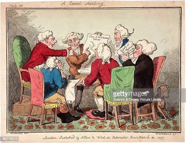 Coloured etching by Cruickshank after an original drawn by Woodward showing a group of men discussing proposals for a new canal Britain�s canal...