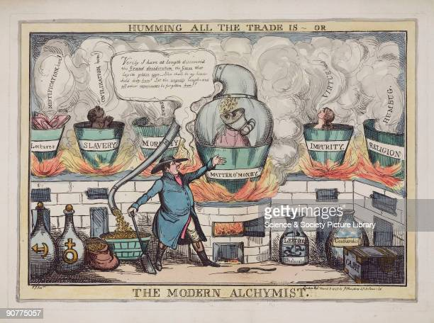 Coloured etching by T J showing an alchemist claiming to have found the �Goose that lays the golden eggs� He is distilling gold coins from a glass...