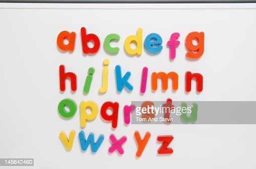 A-Z coloured fridge magnet letters : Stock Photo