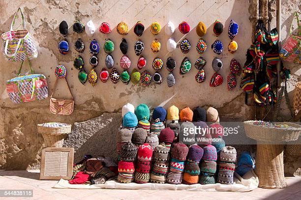 Coloured hats in Morocco.