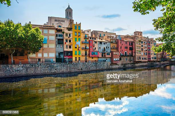 Coloured houses over Onyar river in Gerona.