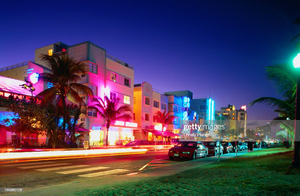Coloured lights on the street at South Beach light up Ocean Drive - Miami, Florida : Stock Photo