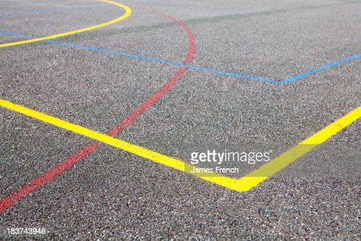 Coloured lines on basketball court