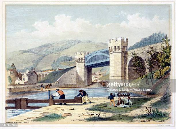 Coloured lithograph drawn and lithographed by the Americanborn artist Arthur Fitzwilliam Tait showing the Gauxholme viaduct on the Manchester and...