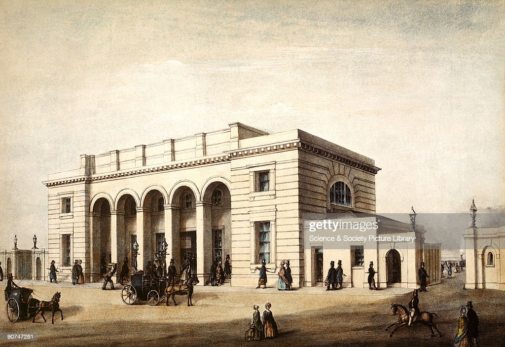 Coloured lithograph Nine Elms Station in Vauxhall London was designed by William Tite and opened in 1838 as the London terminus of the London...