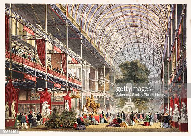 A coloured lithograph of the transept of the Crystal Palace Hyde Park London from 'Dickinsons' Comprehensive Pictures of the Great Exhibition of...