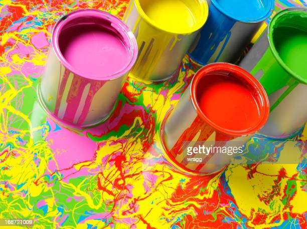 Coloured Paint on a Painted Background