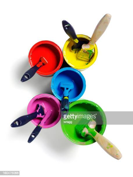 Coloured Paints and Paintbrushes