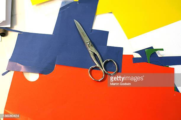Coloured paper used by Dick Bruna author of the Miffy books artist illustrator and graphic designer in his studio Utrecht The Netherlands 2nd October...