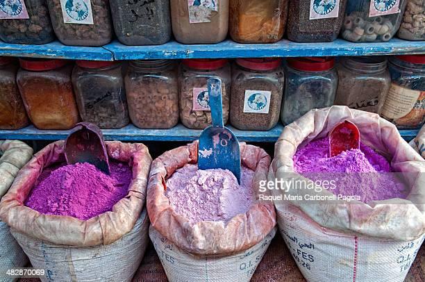 Coloured pigments at a shop