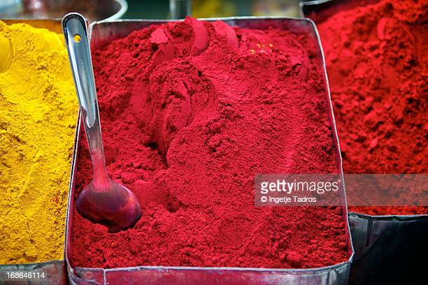 Coloured powder on display