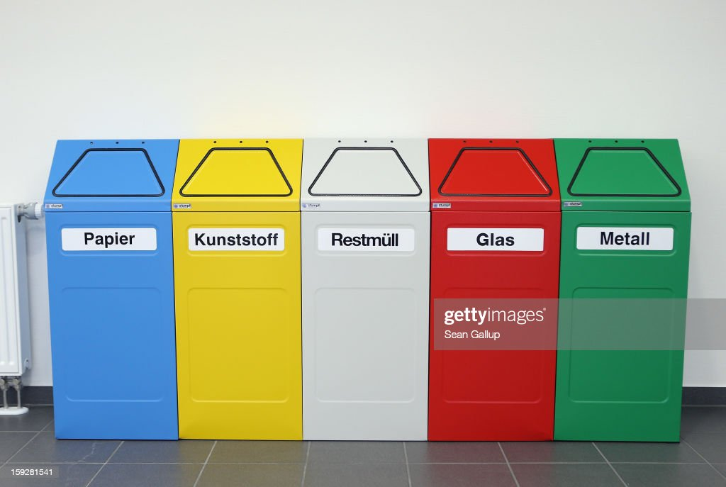 'Paper, Pastic, Other Waste, Glass and Metal' stand in a factory on January 4, 2013 in Aurich, Germany. Germany has invested heavily into waste recycling systems and people regularly sort their trash for recycling.