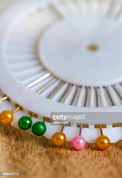 Coloured round headed pearl pins