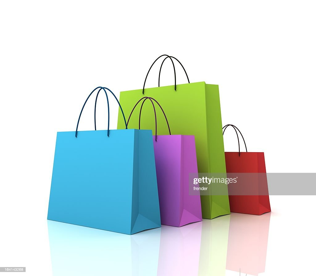 Coloured shopping bags