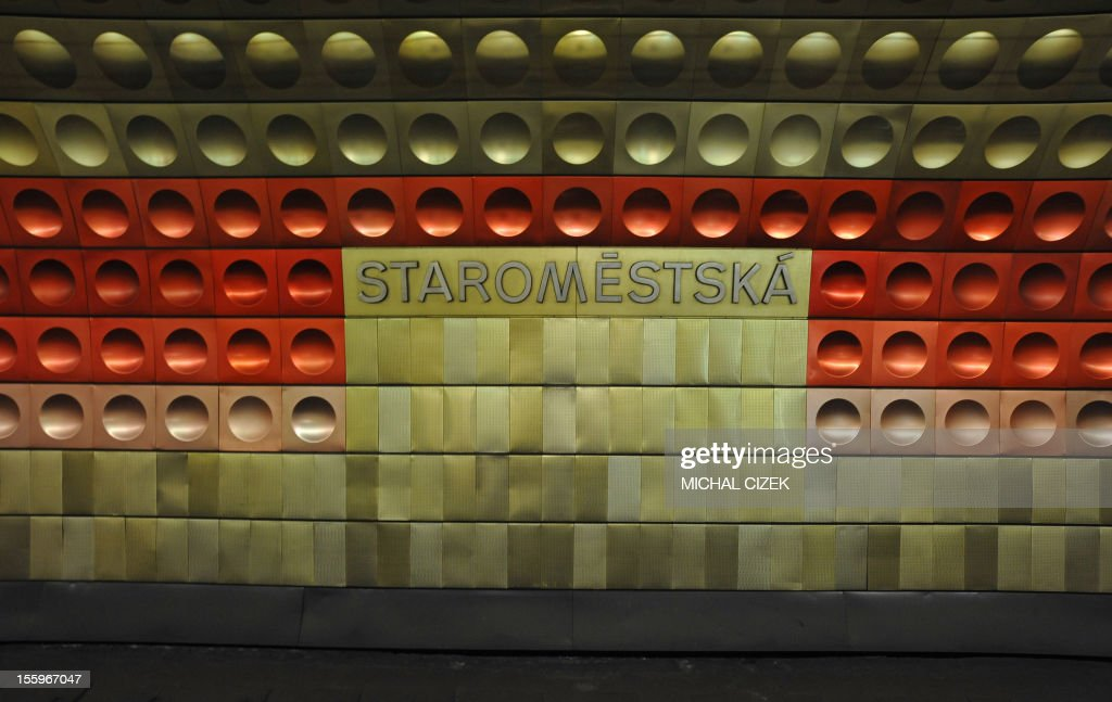 Coloured tiles decorate the Staromestska station on the B line subway in Prague, Czech Republic on November 09, 2012. AFP PHOTO / MICHAL CIZEK