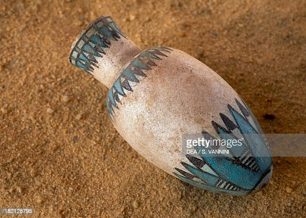 Coloured vase Valley of the Golden Mummies Bahariya Oasis Giza Egypt Egyptian Civilisation