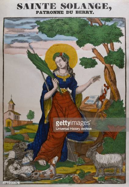 Coloured woodblock illustration showing Saint Solange She was a Frankish shepherdess and a locally venerated Christian saint whose cult is restricted...