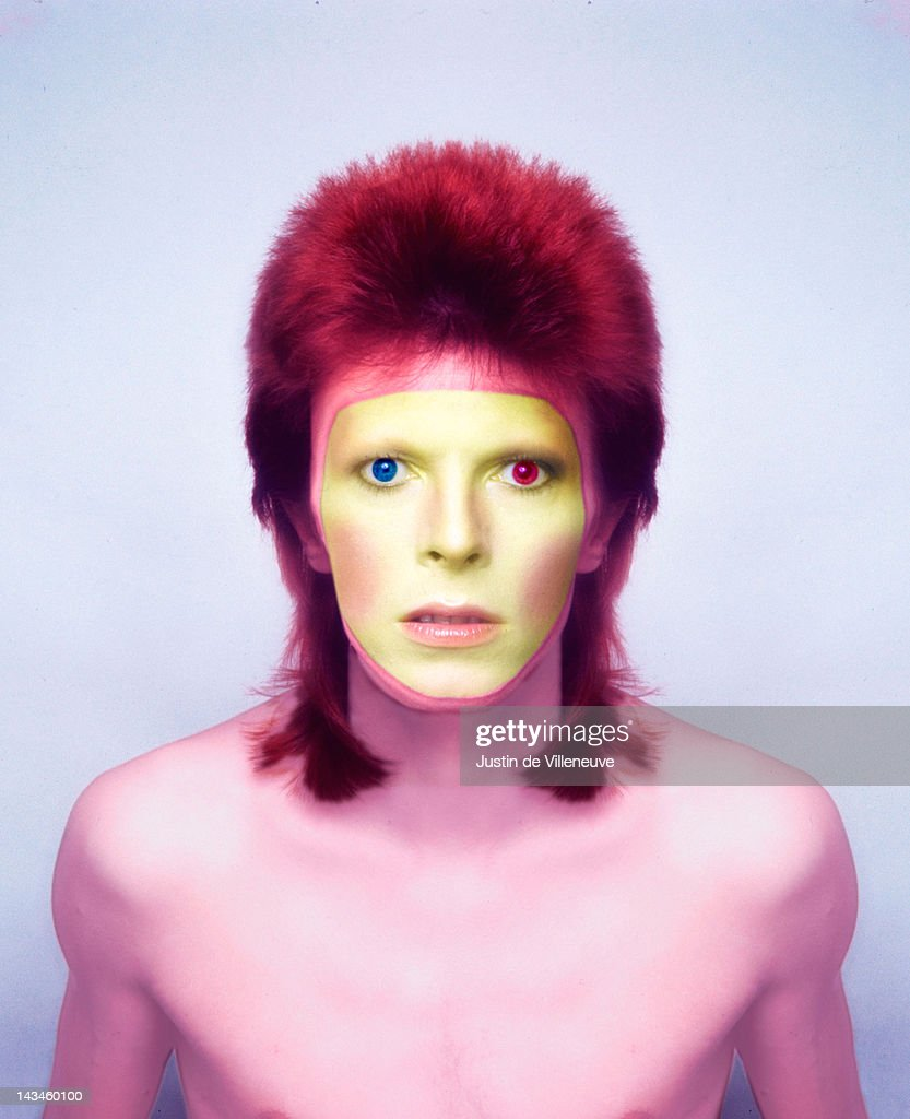 A colour-enhanced image of English singer and musician <a gi-track='captionPersonalityLinkClicked' href=/galleries/search?phrase=David+Bowie&family=editorial&specificpeople=171314 ng-click='$event.stopPropagation()'>David Bowie</a>, exaggerating his heterochromia iridis, 1973. This photo was taken in Paris during a photoshoot for Bowie's 'Pin Ups' album.