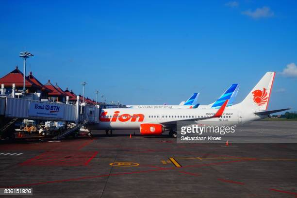 Colourful airplanes at the Tarmac of Ngurah Rai Airport, Bali, Indonesia