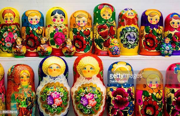Colourful baboushka dolls at street market
