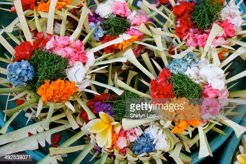 Colourful balinese flower offerings