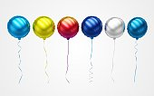Beautiful 3d balloons rendered in high quality, floating against a white background.