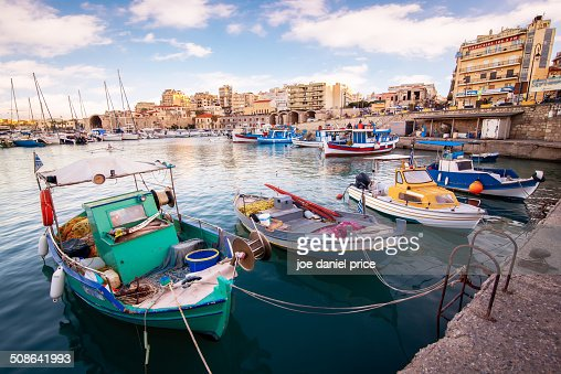 Colourful Boats at Heraklion Port
