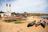 Colourful boats on Almadies beach, Dakar Senegal