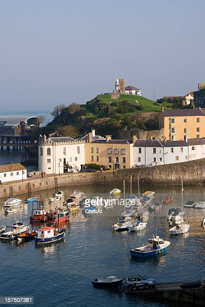 Colourful buildings around the harbour, Tenby, Pembrokeshire, Wales, UK