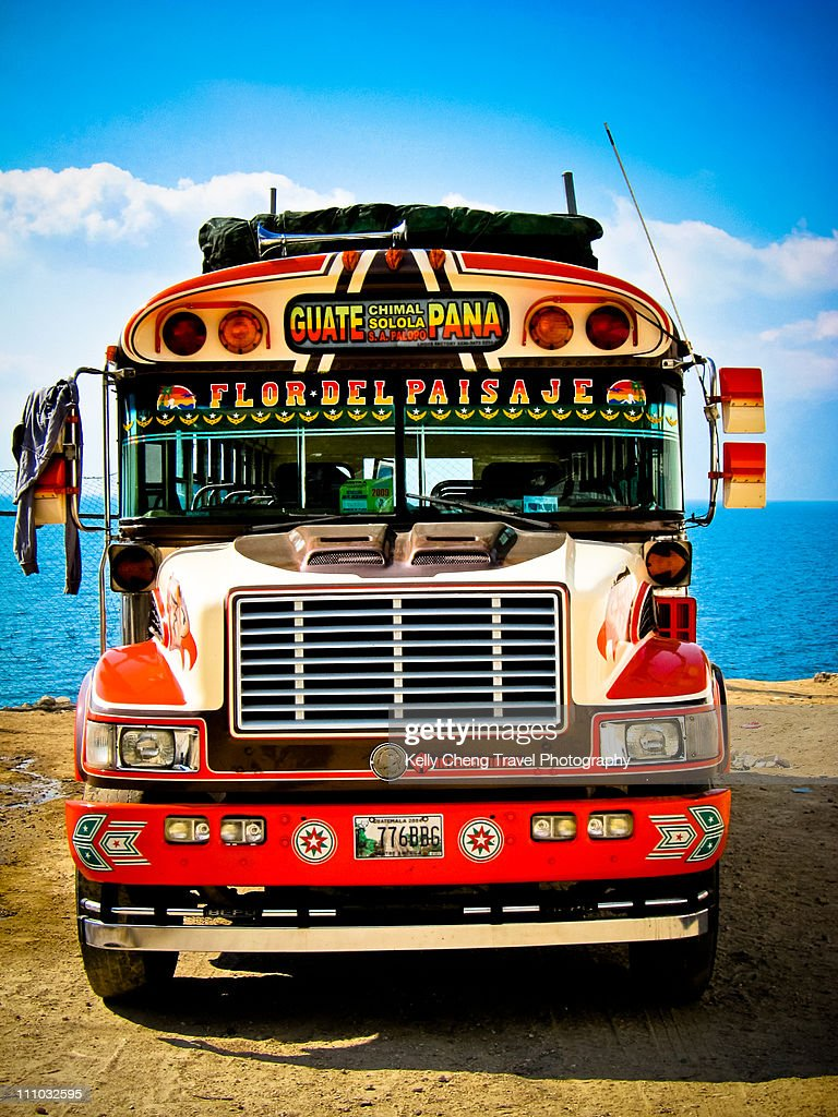 Colourful bus in Panajachel