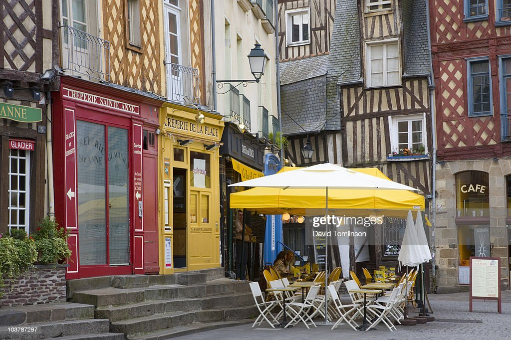 Colourful cafes in corner of Place Sainte-Anne.