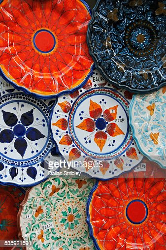 Colourful ceramics typical of the Aeolian Islands : Stock Photo