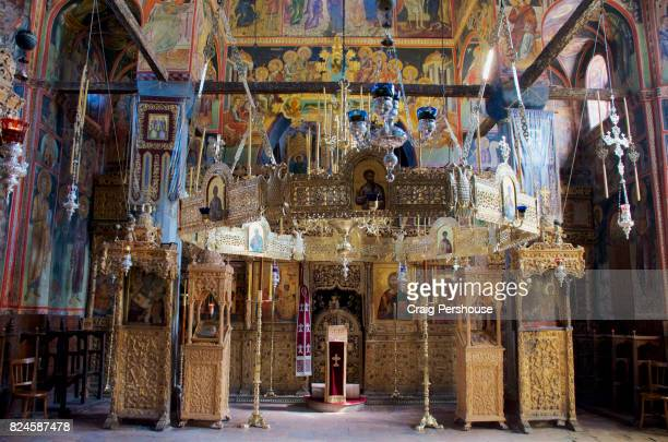 Colourful chapel in Great Meteoron Monastery.