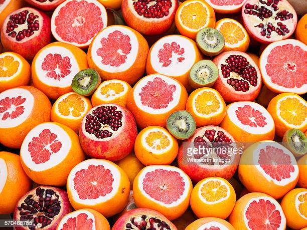 Colourful circles of fresh juicy fruit